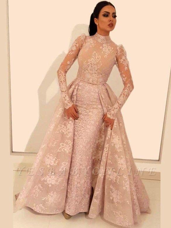 Vintage A-Line Lace Prom Dresses | High Neck Long Sleeves Detachable Skirt Evening Dresses