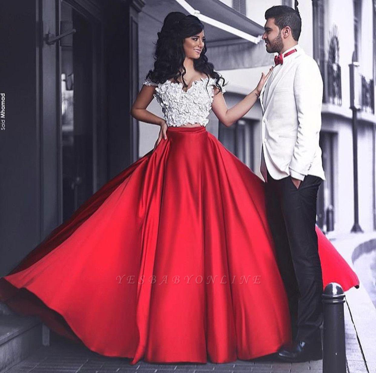 Red Lace Off-the-Shoulder Elegant Appliques Evening Dress