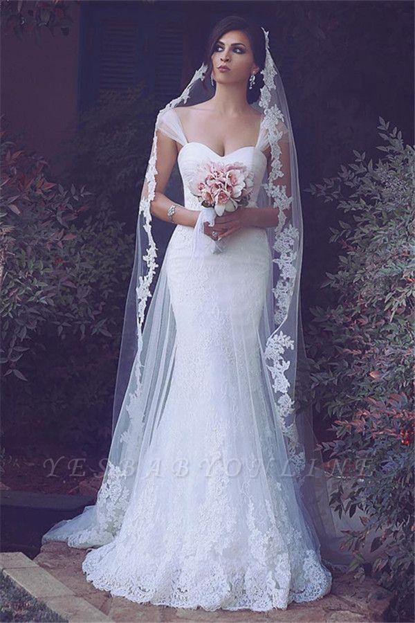 Sweetheart Tulle Glamorous Appliques Straps Mermaid Wedding Dresses