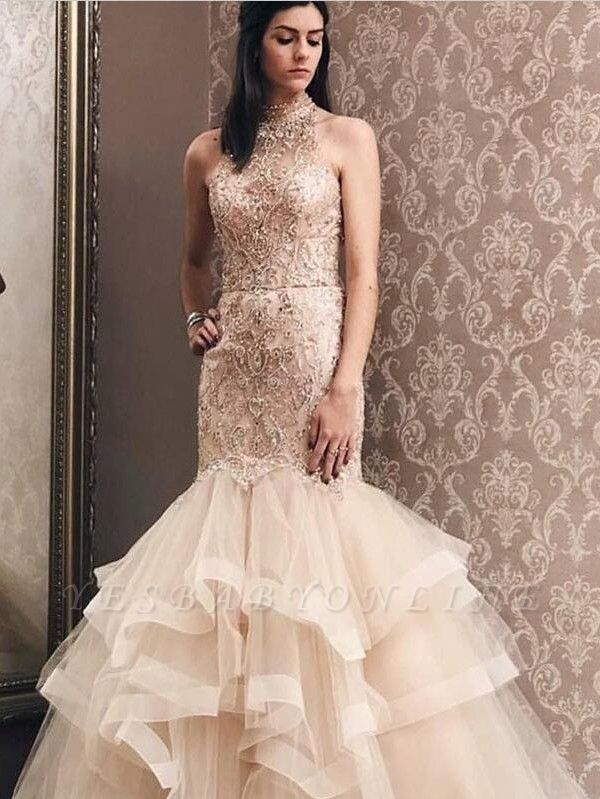 Elegant Mermaid Light Champagne  High Neck Beading Prom Dress | Evening Dress