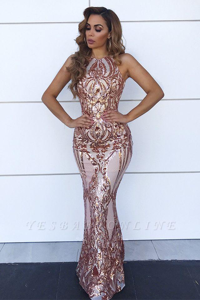 Sleeveless Open Back Sequins Prom Dresses | Spaghetti Straps Mermaid Champagne Evening Dress