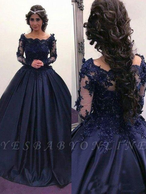 Scoop Long-Sleeves Lace Ball-Gown Elegant Prom Dresses