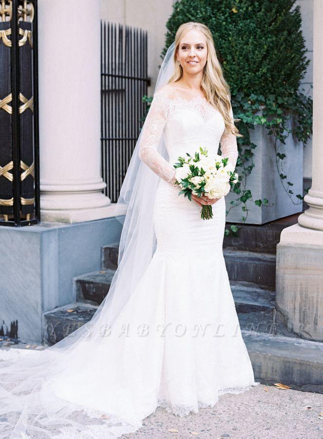 Glamorous Long-Sleeve White Zipper Off-the-shoulder Mermaid Lace Wedding Dress