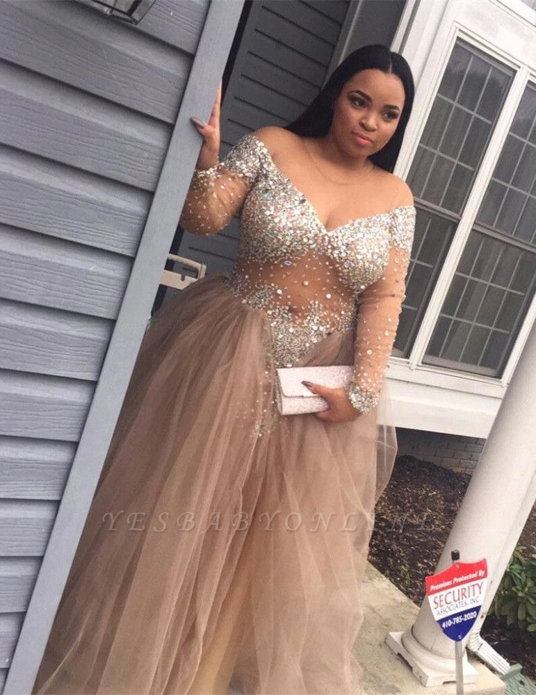 Tulle Crystal Split Stunning Long-Sleeve Plus-Size Prom Dress