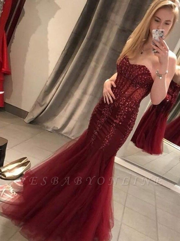 Mermaid Burgundy  Appliques Sweetheart Long Prom Dress with Sequins