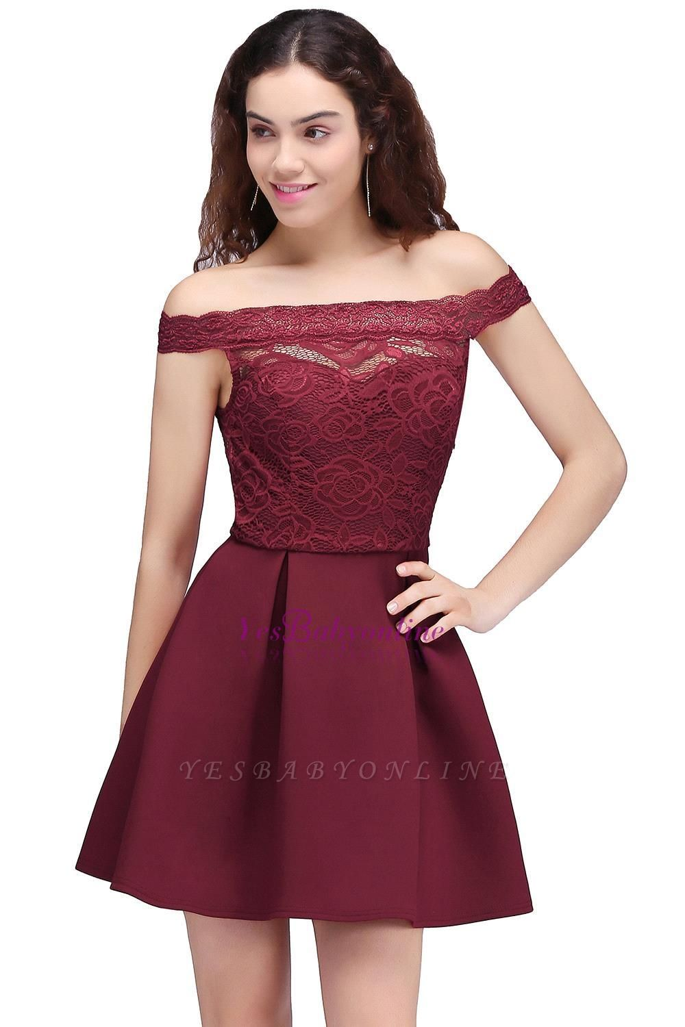 A-Line Off-the-shoulder Short Lace Burgundy Homecoming Dress