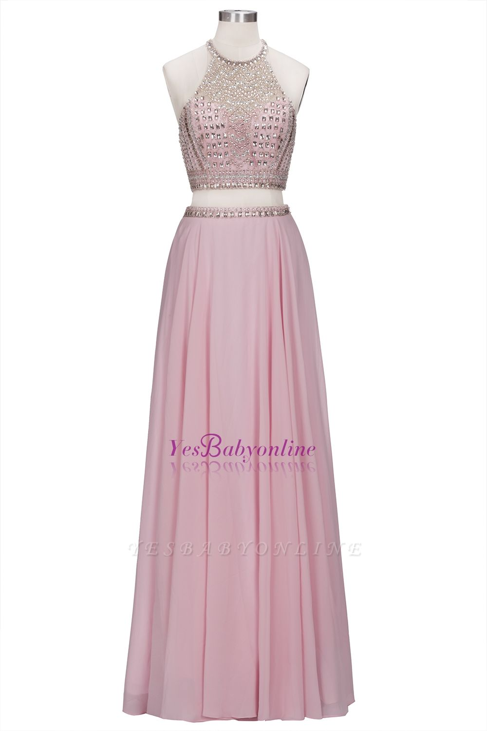 Floor-length Pink Crystals Delicate Two-piece A-line Evening Dress