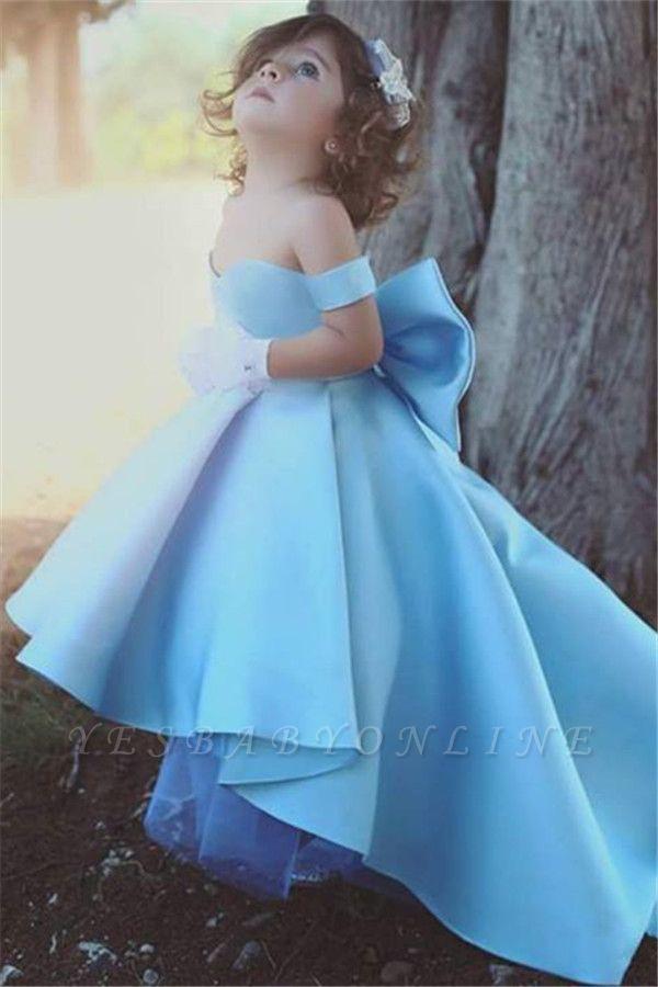 Off-the-Sholder Bow Simple Lovely Blue Flower-Girls Dresses