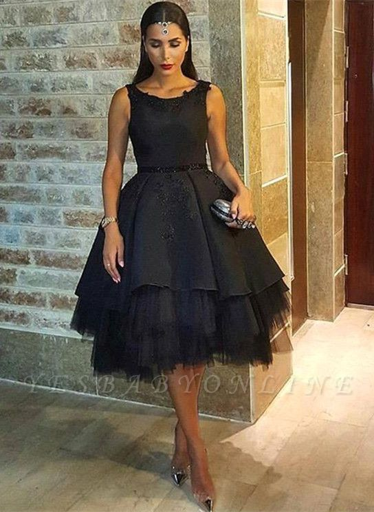 Black Mesh Scoop Sleeveless Short Sexy Lace Appliques Prom Dress