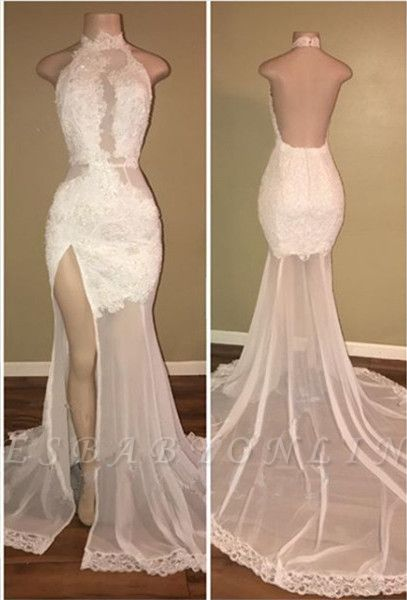 Elegant White Lace Halter Prom Dress Mermaid Backless Party Dress With Slit BA8228