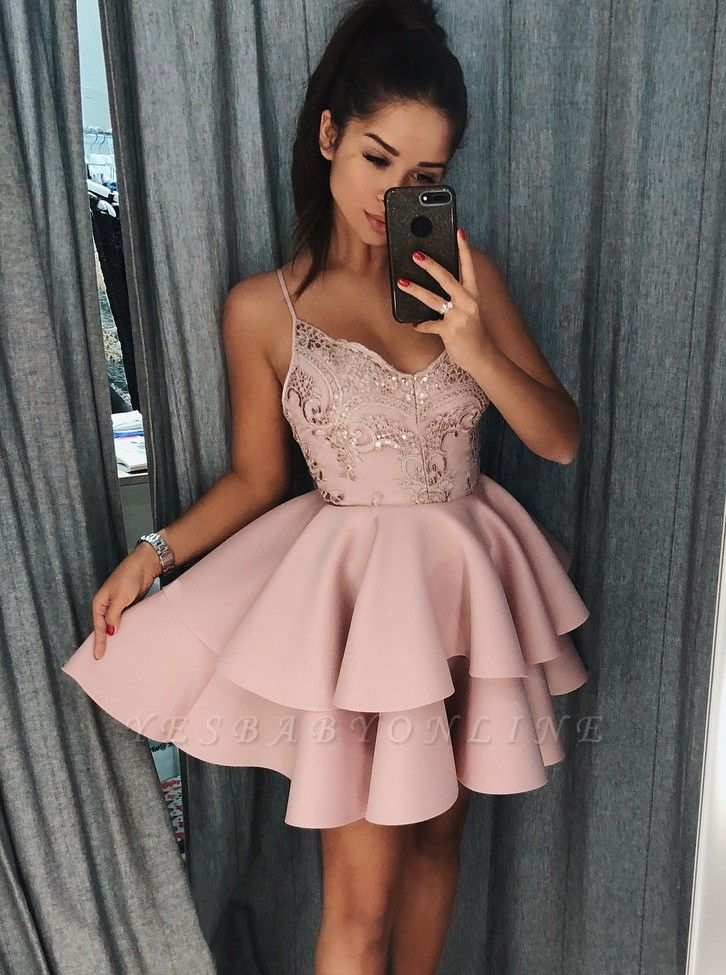 Spaghetti-strap Homecoming Dresses | Tiers Skirt Short Cocktail Dresses