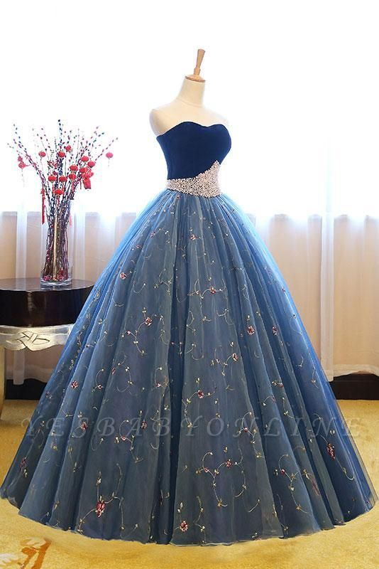 Exquisite Sweetheart Pearls Puffy Embroidery Prom Dresses