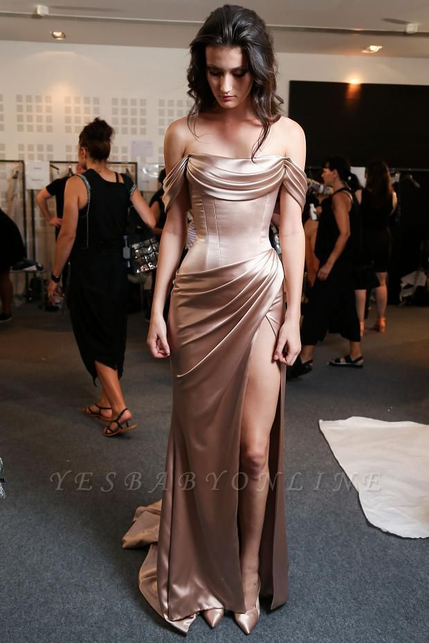 Glossy Prom Dresses Off-the-Shoulder Side Slit Evening Gowns