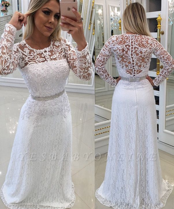 White Scoop Buttons Lace Long-Sleeves Evening Dress