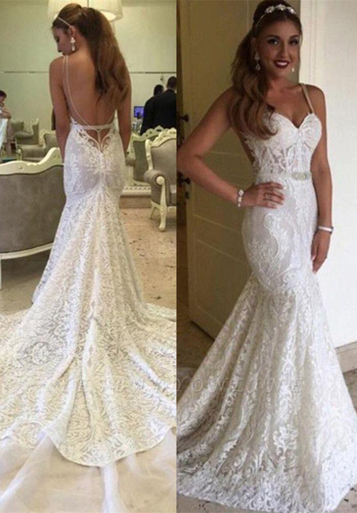 Spaghetti-Straps Backless Glamorous Lace Mermaid Wedding Dresses
