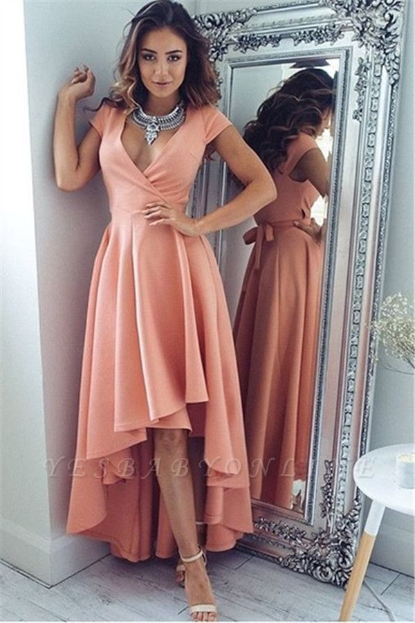 Sexy Hi-Lo V-Neck A-Line Short-Sleeves Prom Dresses