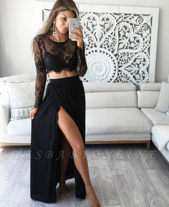 Two-Piece Lace Long-Sleeves Sexy Black Prom Dresses
