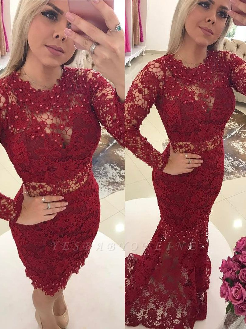 Lace Luxury Jewel Mermaid Long-Sleeves Pearls Prom Dresses