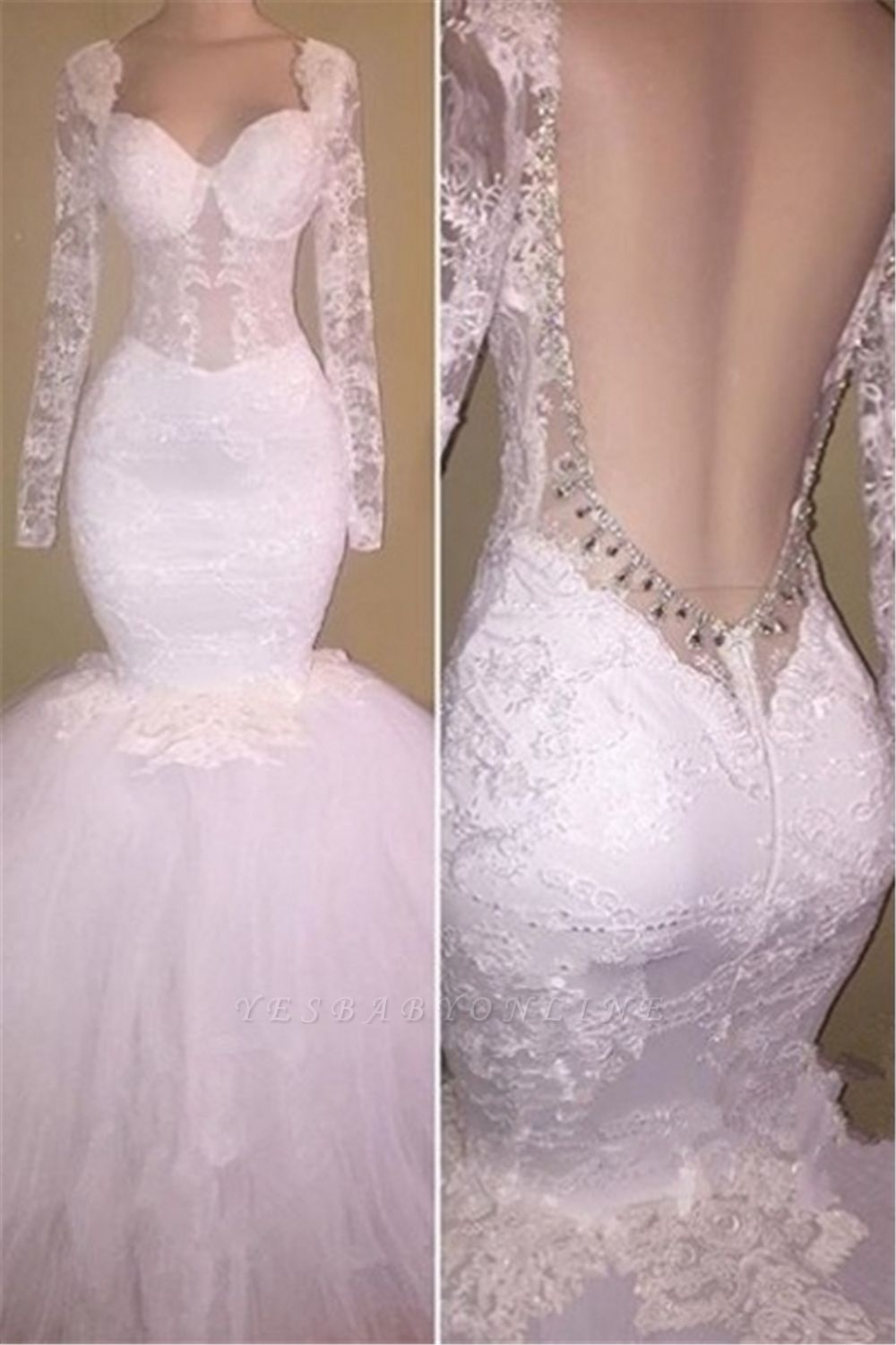 Long Sleeves Lace Prom Dresses Backless | White Mermaid Evening Gowns