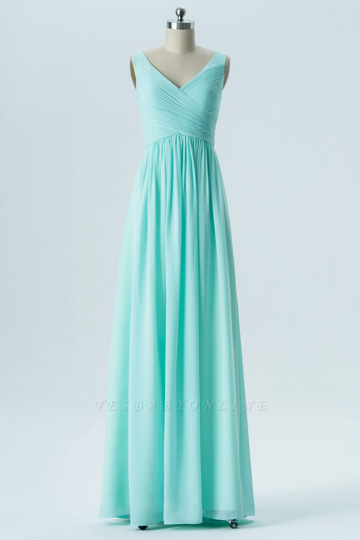 A-line Chiffon V-Neck Bridesmaid Dresses with Ruffles
