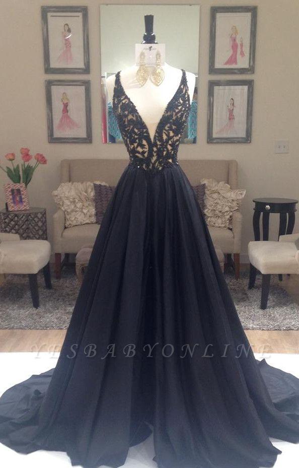 Long A-Line Applique Sleeveless Gorgeous V-Neck Black Evening Dresses