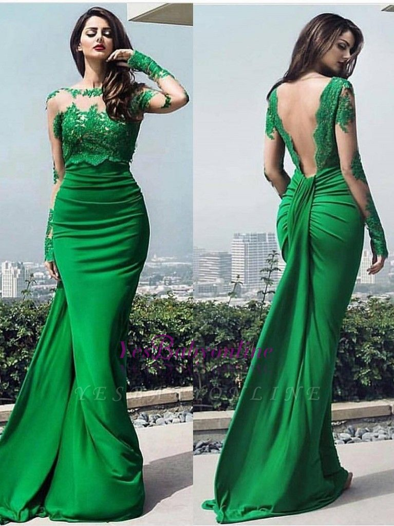 dresses long prom chic Elegant lace prom dresses