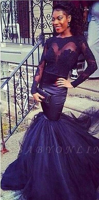 Tulle Mermaid Puffy Lace Long-Sleeve Sheer Prom Dresses