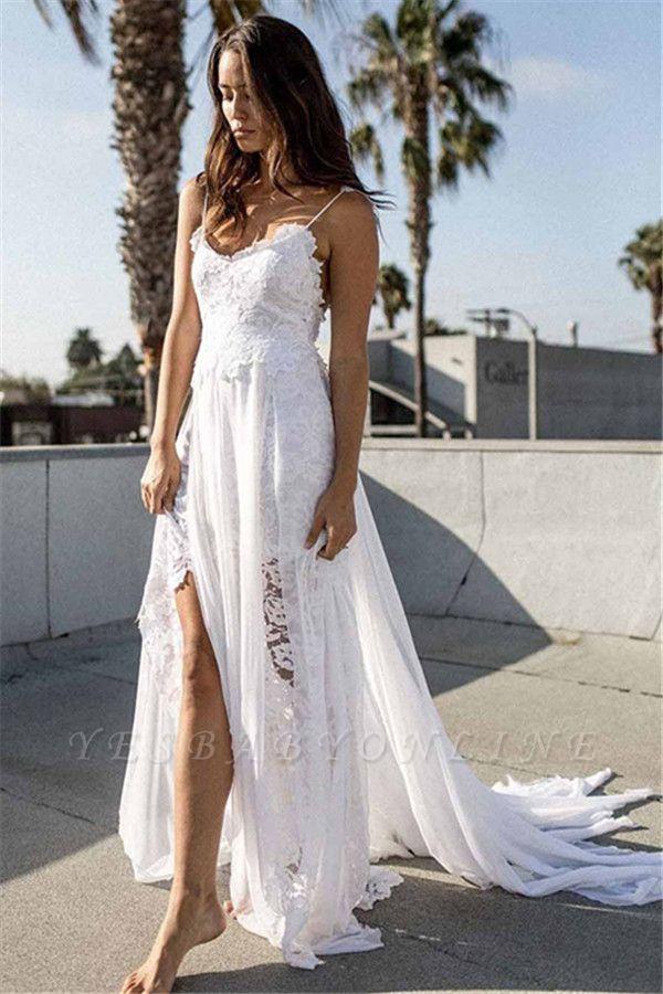 Sexy Spaghetti Straps Side Slit Chiffon Lace Beach Wedding Dresses | Destination Bridal Dresses