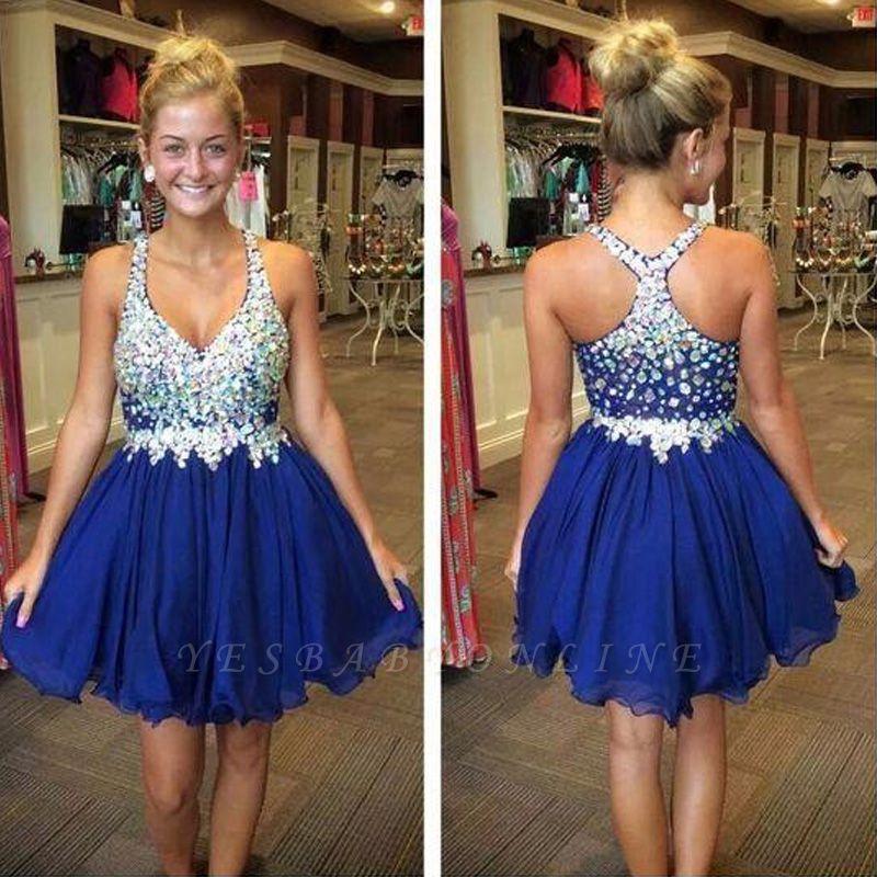 Popular Sleeveless  Royal-Blue Short Sparkly Rhinestone Homecoming Dresses