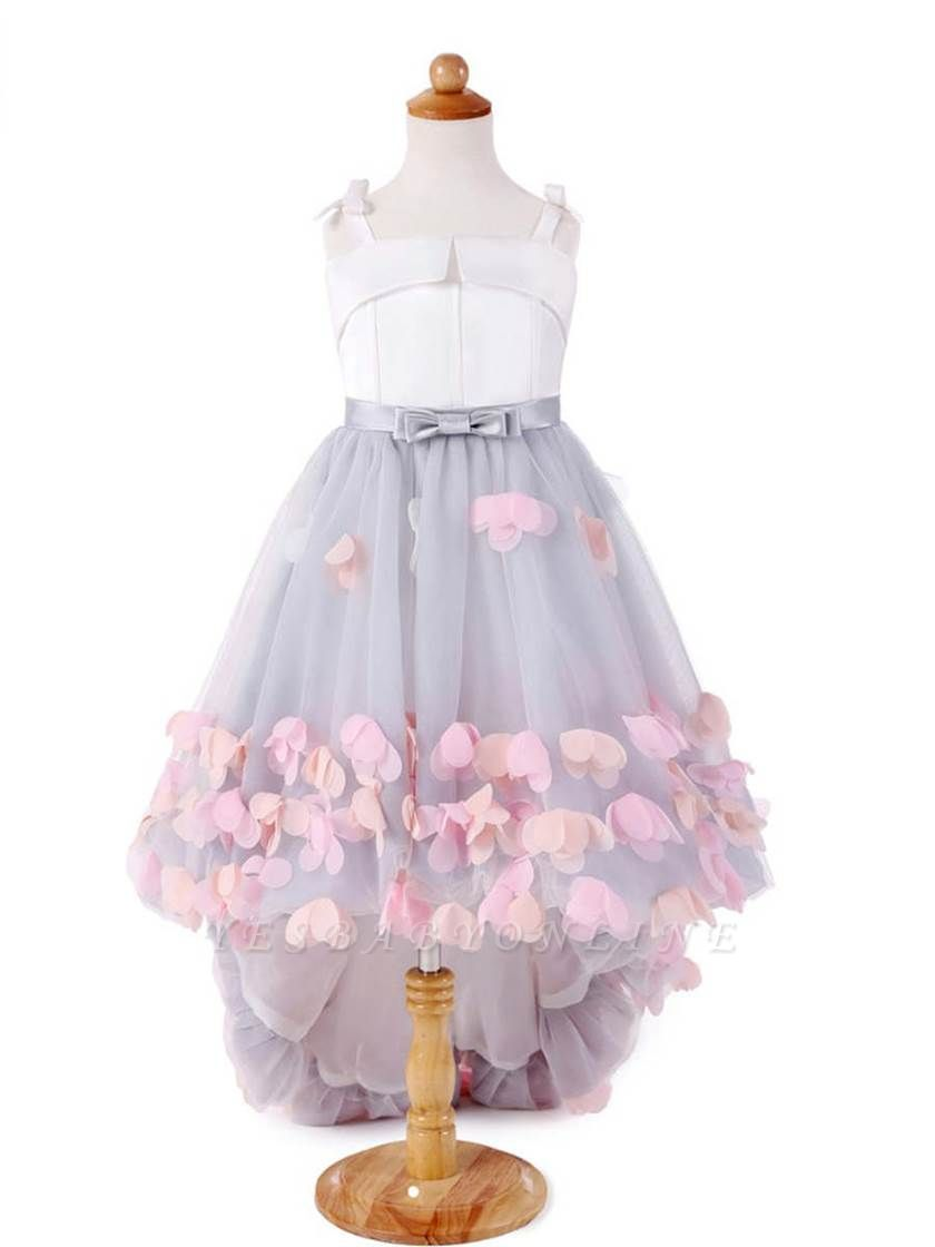 Cute A-Line Tulle Straps Bowknot Sweep Train Flower Girl Dress