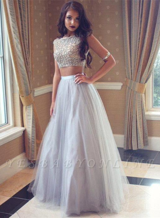 Sexy Two-Pieces Long Beadings Mesh Prom Dress