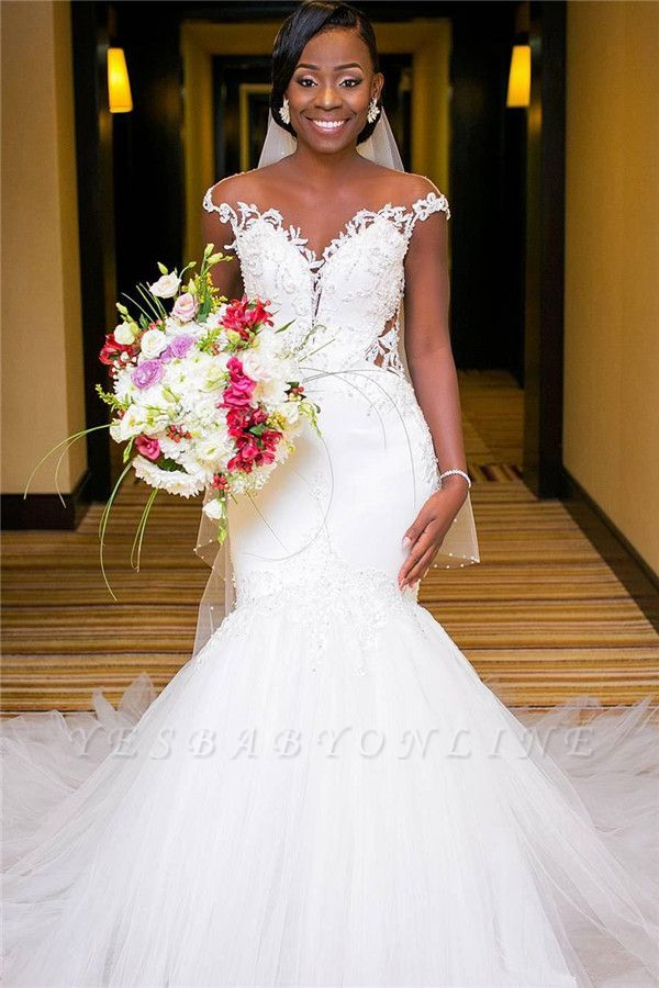 Cap Sleeves Sexy Mermaid Tulle Lace Appliques Wedding Dresses with Buttons