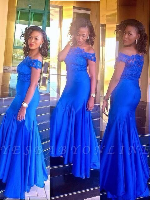 Newest Lace Royal-Blue Off-the-Shoulder Mermaid Prom Dress