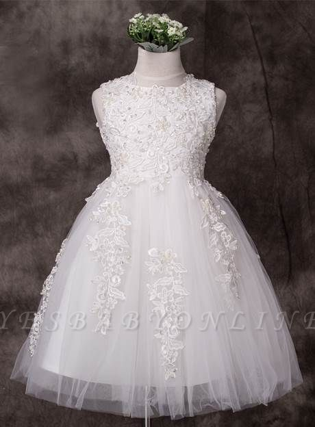 Cute A-Line Tulle Jewel Applique Knee-Length Flower Girl Dress