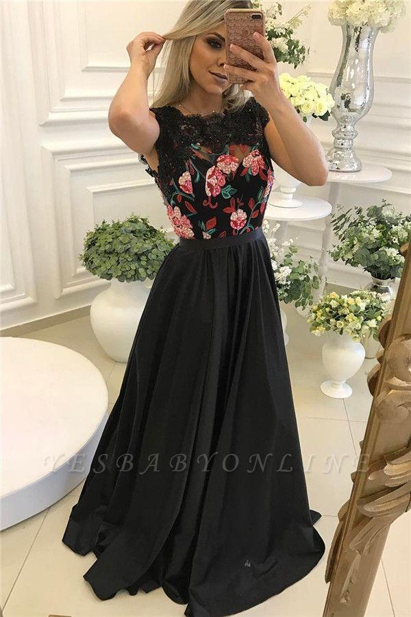 Black Flowers Unique Floor-length A-line Black Evening Dress