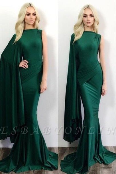 Dark Green Mermaid Evening Gowns One Shoulder Stylish Formal Prom Dresses