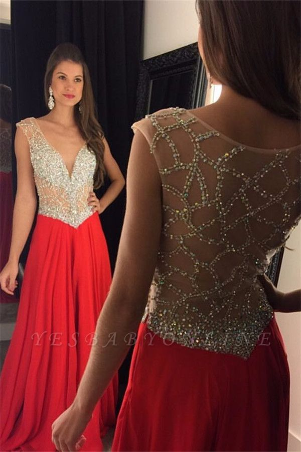 2019 Red Chiffon Prom Dresses V-Neck Capped Sleeves Crystals Luxury Evening Gowns