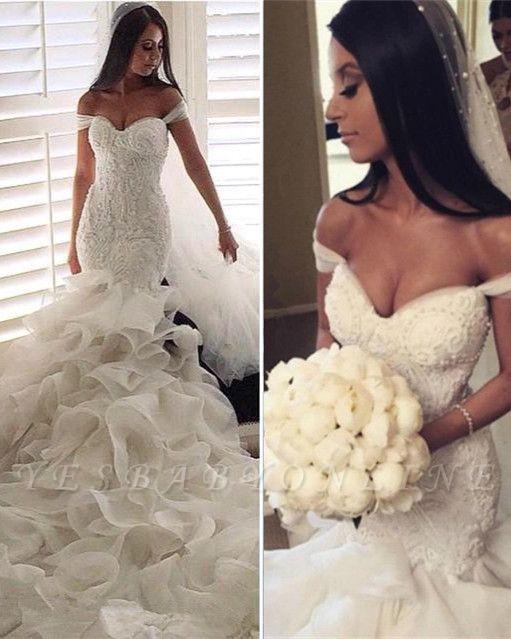 Glamorous Off-the-Shoulder Ruffles Train Mermaid Wedding Dresses