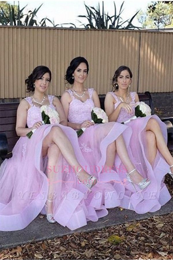 Appliques A-Line Straps Tulle Elegant Lace Bridesmaid Dresses