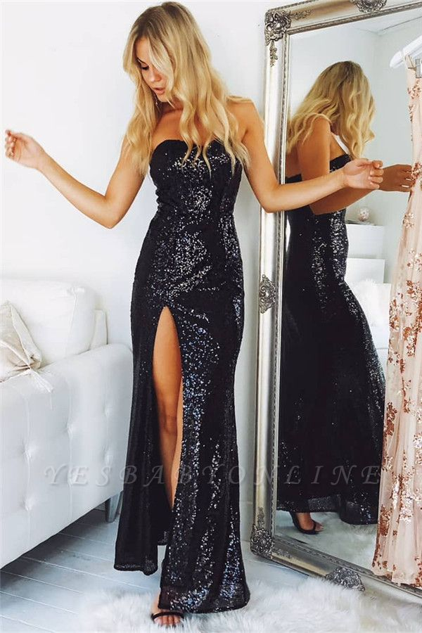 Strapless Sequins Black Split Sexy Evening Dresses