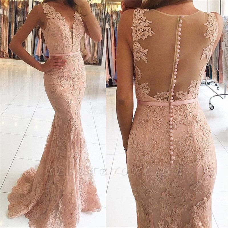 Sexy Lace Long Pink Mermaid Evening Dresses