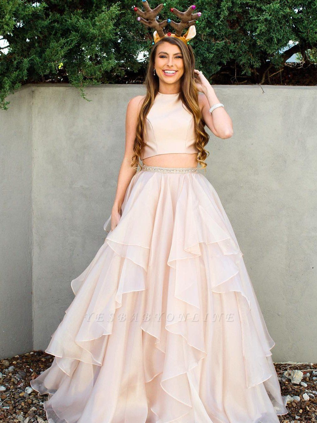 Chic Sleeveless Jewel A-Line Two-Pieces Tiered Prom Dresses