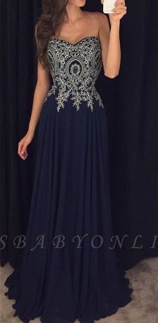 Navy-Blue Lace-Appliques Elegant Long  Prom Dresses