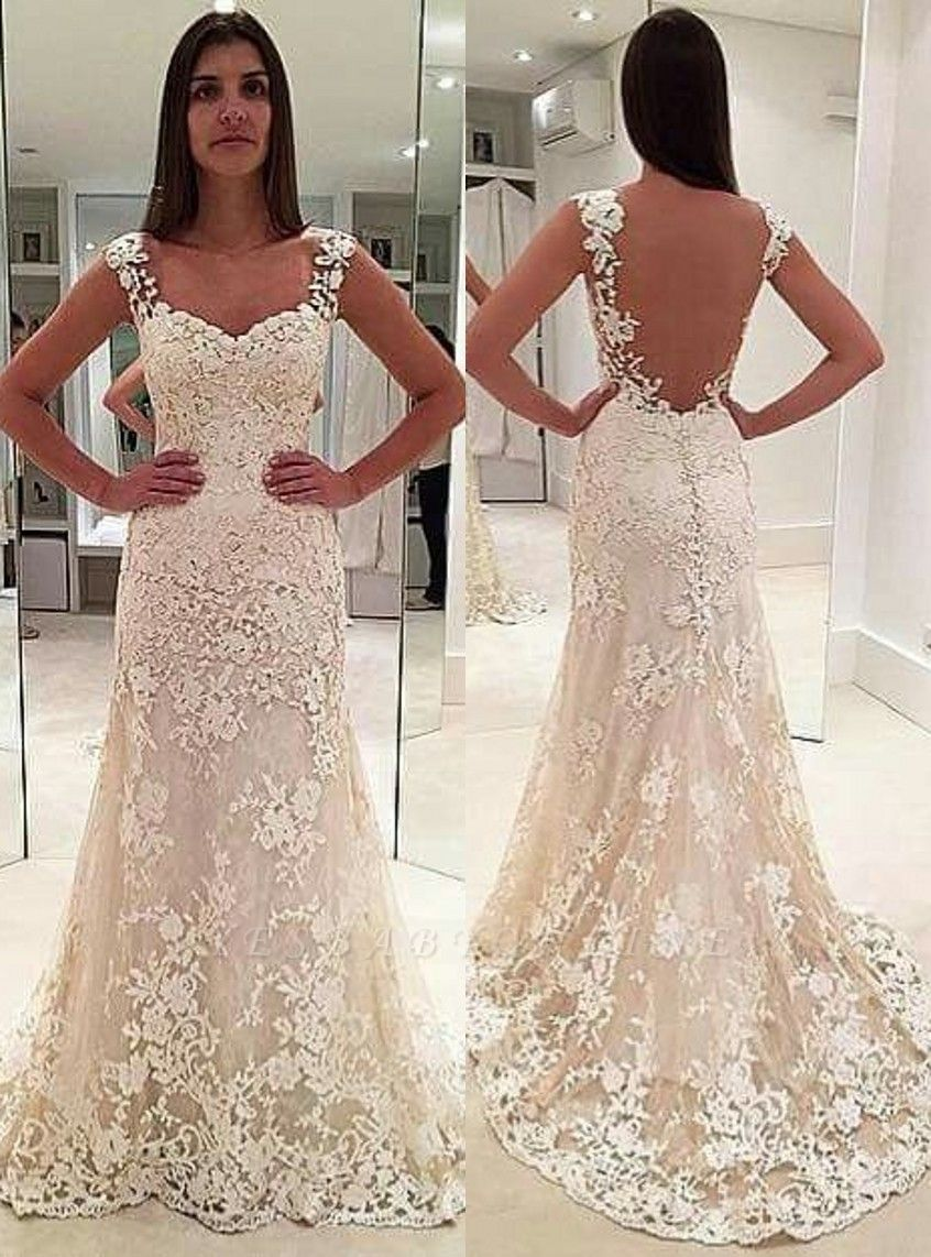 Glamorous Lace Straps Backless Sleeveless Mermaid  Wedding Dresses