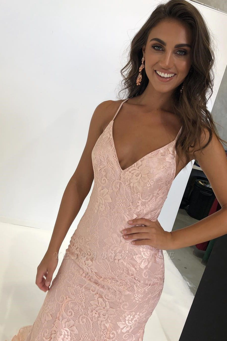 Sexy Pink Lace Prom Dresses | Spaghetti Straps Mermaid Evening Dresses