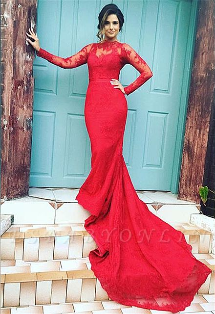 Zipper Red Sexy Button Long-Sleeve Mermaid Lace Evening Dress