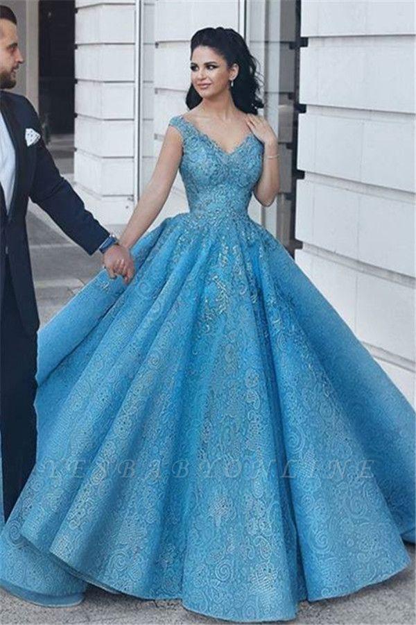 Puffy Lace V-Neck Evening Dresses | Sleeveless Blue Wedding Reception Dress