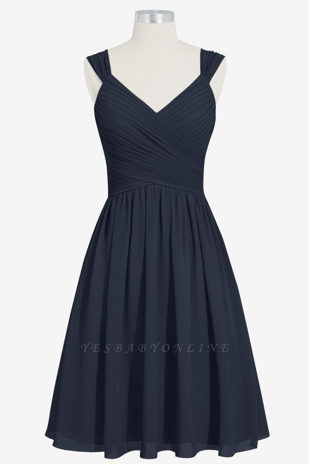 A-line Chiffon Ruffle Two Straps knee Length Bridesmaid Dresses