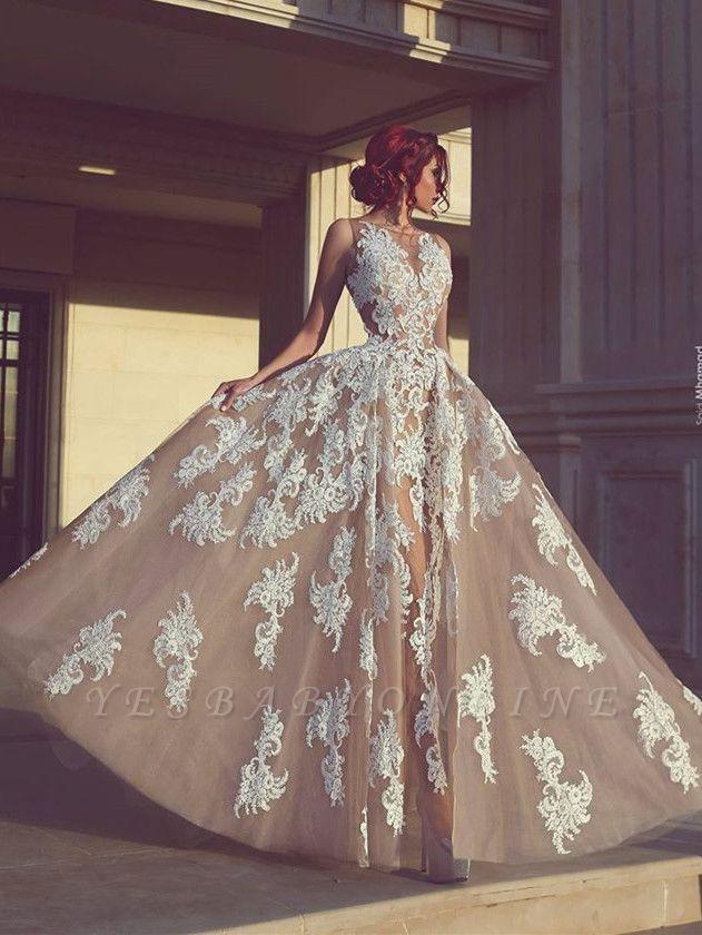 Tulle Appliques A-Line Elegant Sleeveless Wedding Dresses