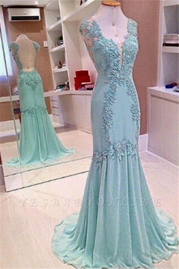Appliques V-Neck Sleeveless  Mermaid Open-Back Elegant Prom Dress